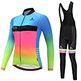 Uriah Women's Cycling Jersey and Black Bib Pants Thermal Fleece Sets Long Sleeve Reflective