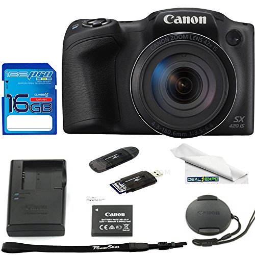 Canon PowerShot SX420 Digital Camera w/42x Optical Zoom – Wi-Fi & NFC Enabled (Black) – Deal-Expo Bundle