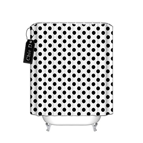 Black And White Polka Dot Bathroom Shower Curtain with Rings 66 x 72 Inch,Waterproof Fabric Polyester (Dot Polka Curtain)