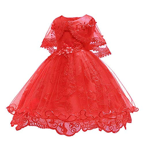 - SOVIKER Girls Princess Gowns Party Formal Dance Evening Dress Embroidery Tulle Lace Flower Princess-1152-Red-130