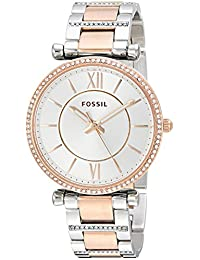 Fossil Women's 'Carlie' Quartz Stainless Steel Casual Watch, Color:Silver-Toned (Model: ES4342)