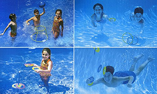 4-In-1 Fun Pack Swimming Pool Games - Basketball, Ring Toss, Dive Rings and (4in 1 Fun Pack)
