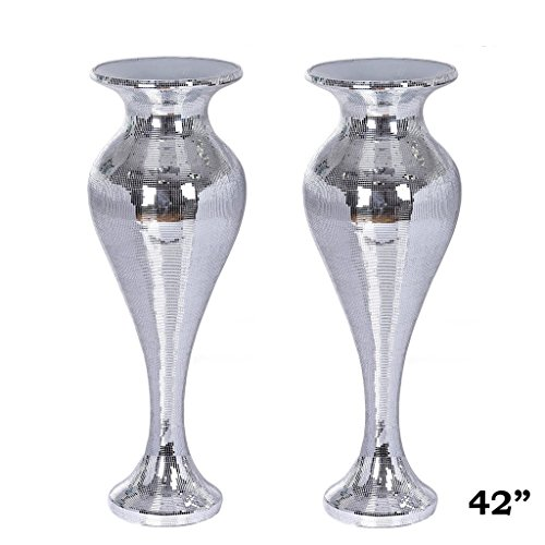 Efavormart 42''Sparkling Silver Mirror Mosaic Flower Vase Stand For Wedding Aisle Event Party Home Decorations -1pc by Efavormart