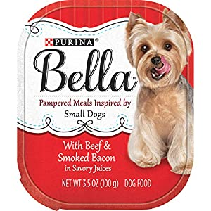 Purina Bella Natural Small Breed Pate Wet Dog Food, With Beef & Smoked Bacon in Savory Juices – (12) 3.5 oz. Trays