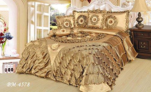 - Tache 6 Piece Golden Caramel Latte Faux Satin Sateen Comforter Quilt Set, Queen