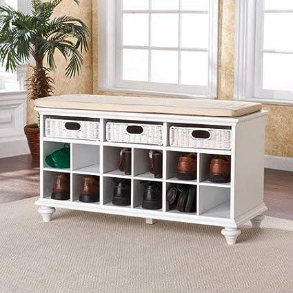 Cool Amazon Com Shoe Bench White Finish Entryway Furniture 3 Lamtechconsult Wood Chair Design Ideas Lamtechconsultcom