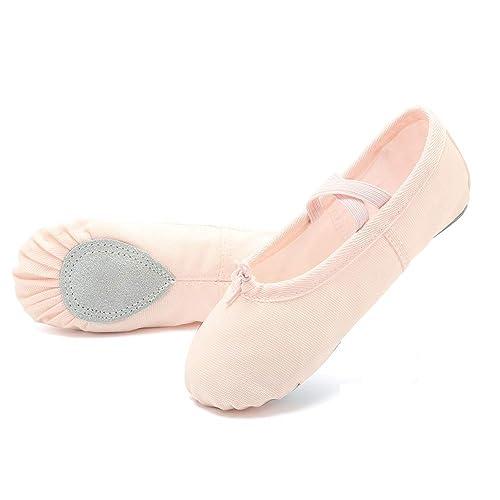 a46aa34a7300 EQUICK Girls  Women s Ballet Shoes Canvas Ballet Slippers Dance Shoes  Classic Split-Sole