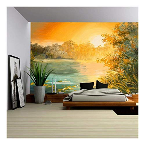 Oil Painting Sunset on The Lake Colorfull Art Drawing Autumn Yellow
