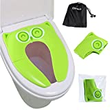 Upgrade Folding Large Non Slip Silicone Pads Travel Portable Reusable Toilet Potty Training Seat Covers Liners with Carry Bag for Babies, Toddlers and Kids, Green