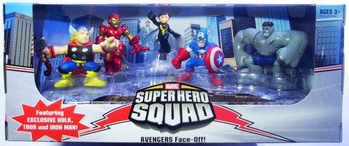 Marvel Superhero Squad Exclusive Avengers Face-Off 5-Pack (Hulk, Iron Man, Ca... (Hero Squad Marvel Avengers Super)