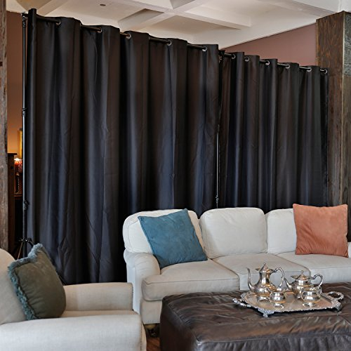 RoomDividersNow Premium Heavyweight Room Divider Curtain, 8ft Tall x 15ft Wide (Midnight Black)