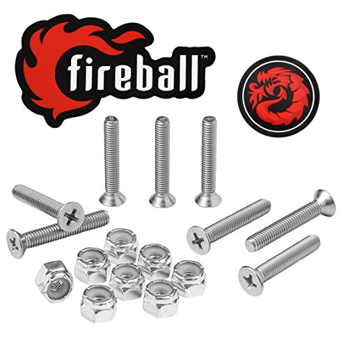 - Fireball Dragon Stainless Steel Skateboard Hardware Set (Flat Phillips, 1.25