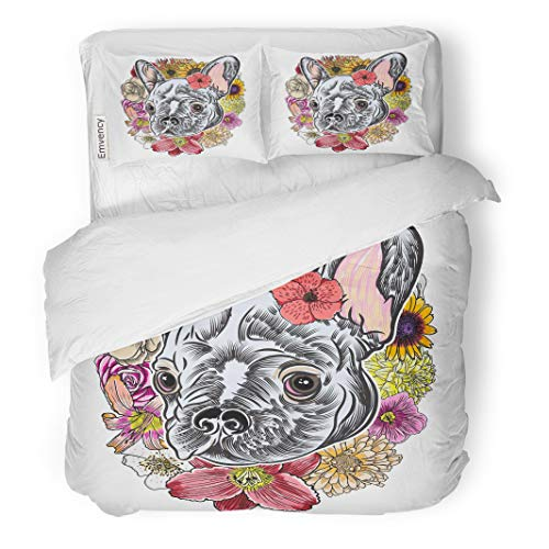 Semtomn Decor Duvet Cover Set Twin Size Portrait of French Bulldog Wearing Exotic Flower Bright Domestic 3 Piece Brushed Microfiber Fabric Print Bedding Set Cover -