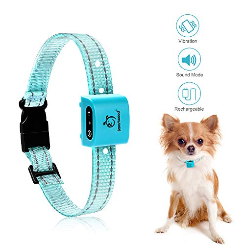 SMARTWOOD Bark Collar, Rechargeable Small Dog No Shock Anti Bark Collar with High Performance Pager Vibration for Small and Medium Dogs
