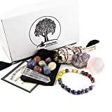 12 Pc White California Sage & Chakra Crystal Healing Kit~Sage Smudge Stick, Crystal Quartz Obelisk, Raw Rose Quartz Stone, Amethyst Chunk, Chakra Bracelet, 7 Polished Chakra Stones w COA & Info Card