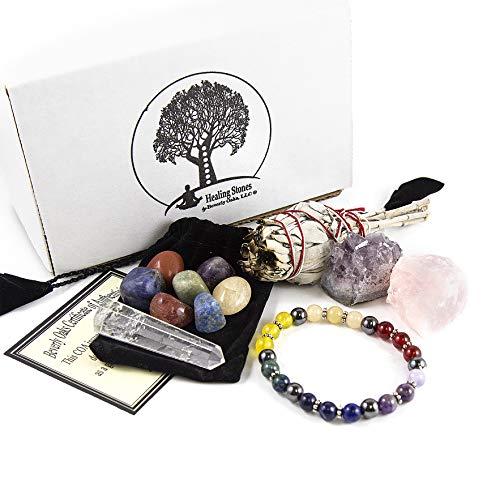 (12 Pc White California Sage & Chakra Crystal Healing Kit~Sage Smudge Stick, Crystal Quartz Obelisk, Raw Rose Quartz Stone, Amethyst Chunk, Chakra Bracelet, 7 Polished Chakra Stones w COA & Info Card)