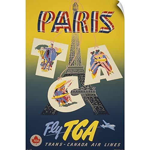 (CANVAS ON DEMAND Paris via Trans-Canada Air - Vintage Travel Advertisement Wall Peel Art Print, 20