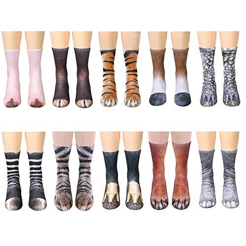 Song Qing Unisex 3D Print Animal Foot Hoof Paw Print Sock Crew Socks