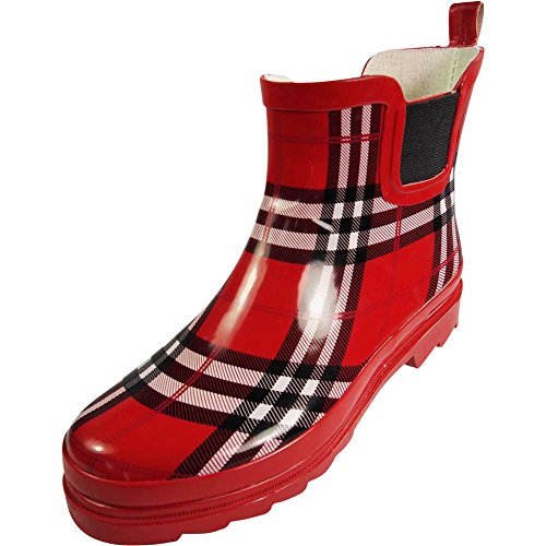 (NORTY - Womens Ankle High Plaid Print Rain Boot, Red, Black, White 39721-8B(M) US)