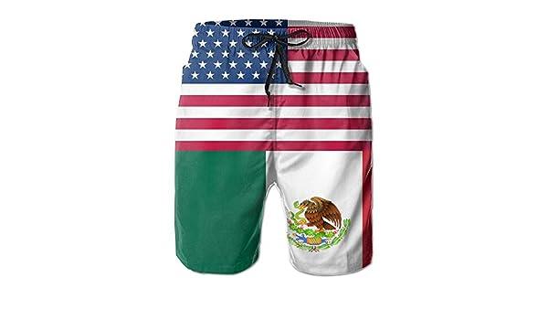 Eli/_Ramos Usa Mexico Flag Mens Summer Casual Beach Board Shorts Swimming Trunk