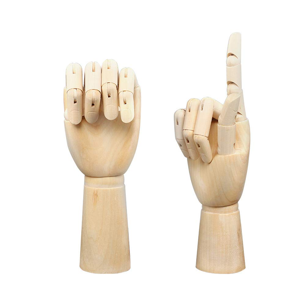 Wooden Hand Model Flexible Moveable Fingers Manikin Hand Figure Both Left and Right Hand for Sketching Drawing Home Office Desk Posable Joints Kids Children Toys Gift 8 inch