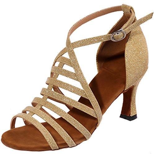 LOSLANDIFEN Womens Open Toe Ankle Strap Dance Shoes Breathable Salsa Tango Latin Sandals Gold staBW