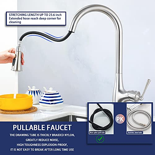 Kornculor Kitchen Faucet with Pull Down Sprayer, Brushed Nickel Single Handle Faucets Commercial Modern High Arc Stainless Steel Kitchen Faucets with Deck Plate for Bar Laundry rv Utility Sink