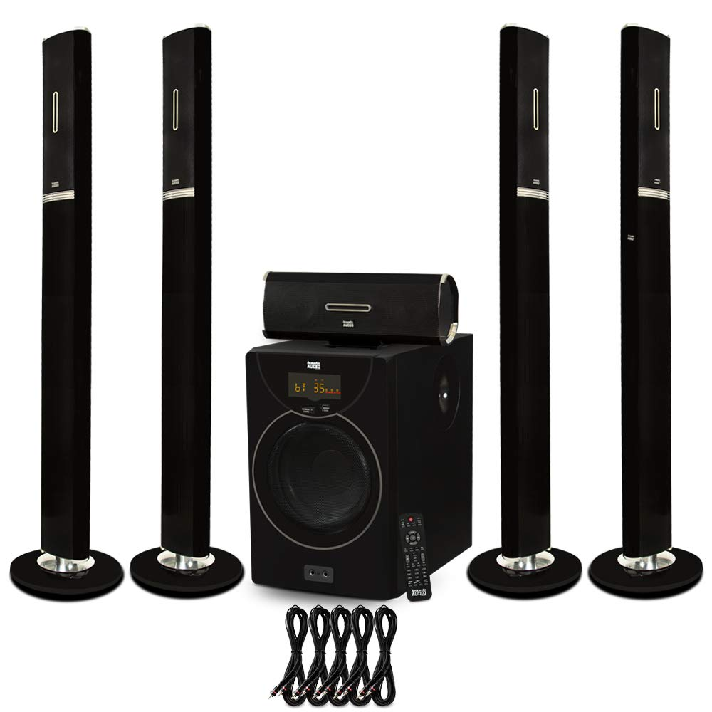 Acoustic Audio AAT2002 Tower 5.1 Home Theater Bluetooth Speaker System and 5 Extension Cables