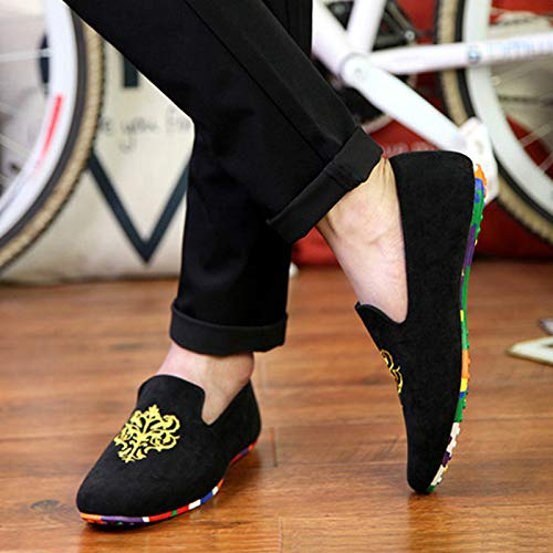 Amazon.com: JingZhou Men Autumn Flat Shoes Embroidery Slip On Casual Footwear Velvet Loafers Soft Comfortable Colorful Sole Male Moccasins: Garden & Outdoor