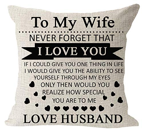 Anniversary Birthday to My Wife I Love You You are Special to Me Love Husband Cotton Linen Square Throw Waist Pillow Case Decorative Cushion Cover Pillowcase Sofa 18