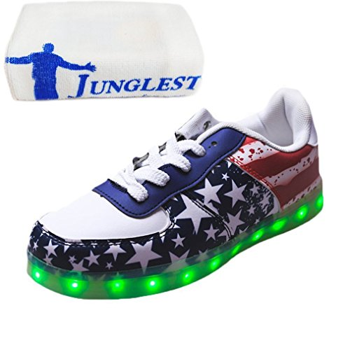 (Present:small towel)JUNGLEST 7 Colors Stars Led Shoes Light Up For Red