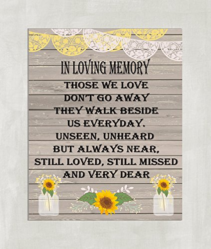 Wedding Table Sign - In Loving Memory Wedding Sign 8x10 Sunflowers and Mason Jar 8x10 ((Unframed))