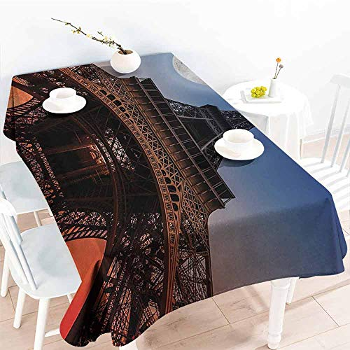 DILITECK Wrinkle Resistant Tablecloth Eiffel Tower Full Moon Night Sky Dusk Digital Style Minimal French Flag Eiffel Tower Digital Washable Tablecloth W54 xL84 Navy Red