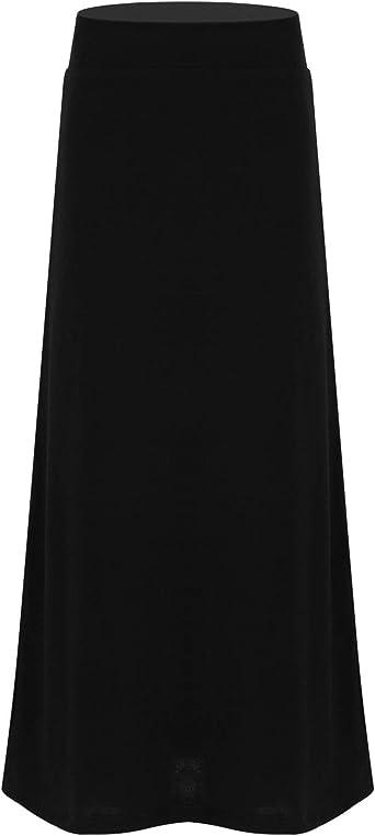 inlzdz Kids Junior Girls A Line Cotton Solid Maxi Long Full Length Skirt Dress Pleated Plain School Uniform Skirt