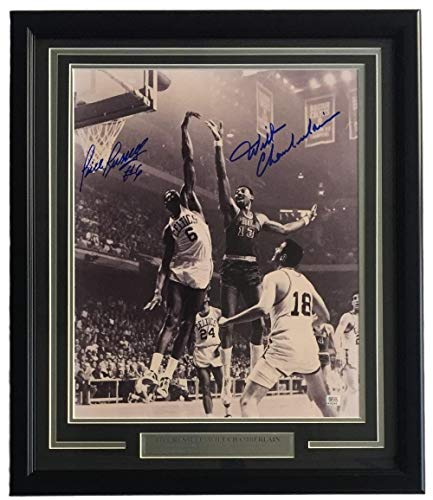 Bill Russell Wilt Chamberlain Signed Framed 16x20 Photo 1A38285 Hologram - PSA/DNA Certified - Autographed NBA Photos - Bill Russell Signed Photograph