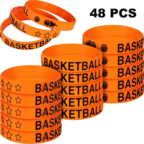 Norme 48 Pieces Basketball Silicone Bracelets Boy Rubber Wristbands Basketball Bracelet Party Favors for School Gifts Supplies (48 Pieces)