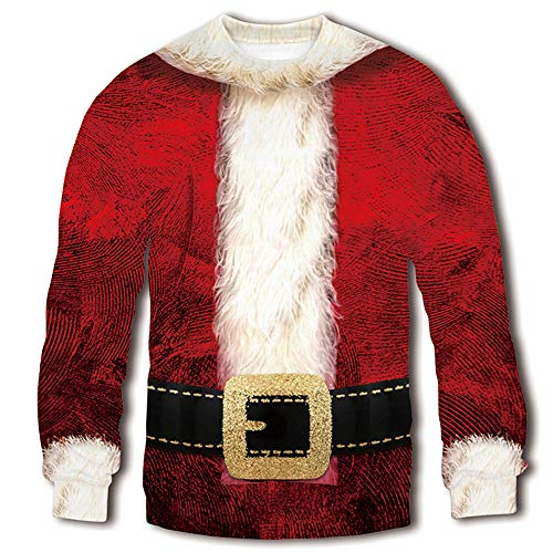 RAISEVERN Unisex Santa Claus Costume with Belt Decorative 3D Digital Printed Ugly Sweater Humorous Graphic Christmas Sweatshirt Pullover Shirt