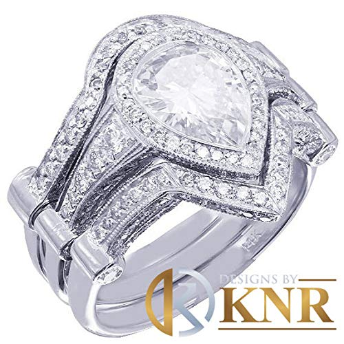 14k white gold pear shape forever one moissanite and diamond bezel engagement ring and two bands 3.35ctw