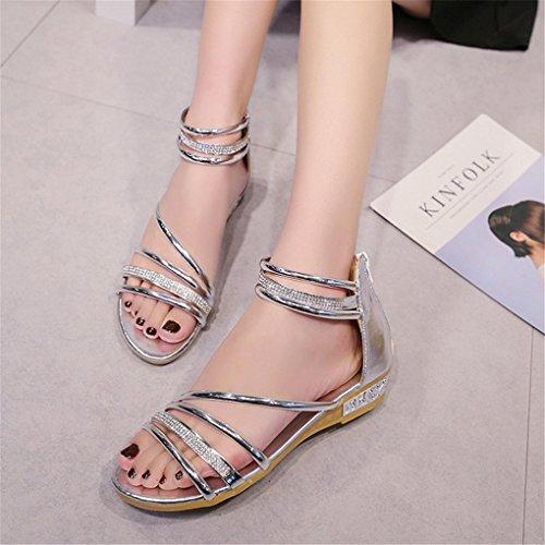 NEWZCERS Sandalias puras de los rhinestones del color de las mujeres del verano de la manera plata