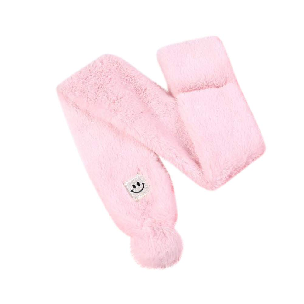 Black B Boys Girls Adorable Thick Thermal Cozy Plush Neck Warmer Scarf Wraps with Pom Children Xmas Gift Kids Toddlers Teens Soft Winter Warm Scarf