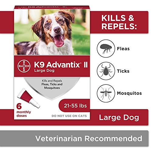 Bayer K9 Advantix II Flea, Tick and Mosquito Prevention for Large Dogs, 21 - 55 lb, 6 doses (Best Shampoo To Get Rid Of Fleas On Dogs)