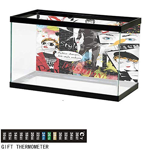 bybyhome Fish Tank Backdrop Girls,Glamour Fashion Magazine Lady,Aquarium Background,36