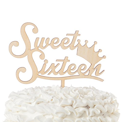 Price comparison product image Ella Celebration Sweet Sixteen 16 Wooden Cake Topper 16th Birthday Party Customizable Decoration (Sweet Sixteen Crown)