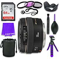 Canon EF 50mm f/1.4 USM Lens for Canon DSLR Cameras & SanDisk 64GB Class 10 Memory Card + Complete Accessory Kit (11 Items)