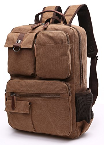 Canvas Backpack, Aidonger Vintage Canvas School Backpack Hiking Travel Rucksack Fits 14'' Laptop (Coffee-48) by Aidonger