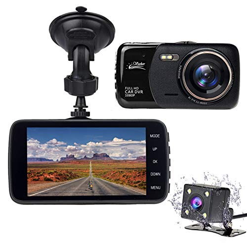 Veoker DashCam, Dash Cam,Dual Lens Dashboard Camera Recorder, 1080P FHD, 4″ LCD Screen,Night Vision, 170° Wide-Angle View, G-Sensor, WDR, Loop Recording Night Mode