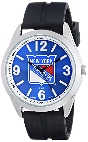 Game Time Men's NHL-VAR-NYR Varsity Analog Display Japanese Quartz Black Watch