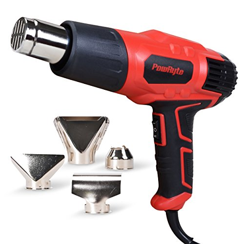 PowRyte Dual-Temperature 1500-watt Heat Gun, 572℉-1022℉(300℃-550℃),with Overload Protection, with 4 Nozzles for Stripping Paint, Bending Pipes, loosening rusted bolts, ergonomic design rubber handle