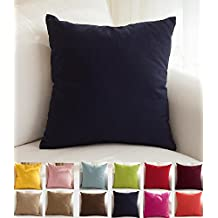 "TangDepot Decorative Handmade Solid 100% High Quality Cotton Canvas Throw Pillow Covers /Pillow Shams - (26""x26"", Dark Navy)"