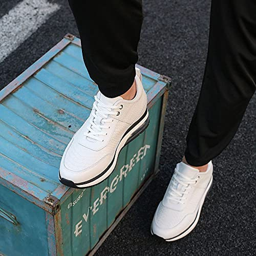 51LH0MljbgS. AC GOLDMoral Air Cushion Increasing Shoes for Men White Sneakers That Make You 8CM / 3.15 Inches Taller    Height Increase: 8CM / 3.15 InchesUpper Material: Calfskin LeatherLining Material: Genuine LeatherColor Selection: WhiteSeason: Spring,Summer,Autumn,Winter